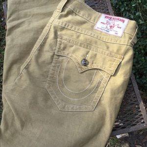 True Religion tan corduroy Straight jeans size 40